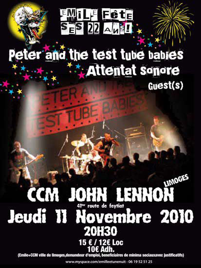 Attentat Sonore, Peter and the Test Tube Babies, Sideburns Sweat, Emile et une Nuit