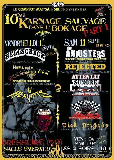 Attentat Sonore + Rejected + R'n'C's au festival Karnage Sauvage dans l'Bokage, le 11/09/10