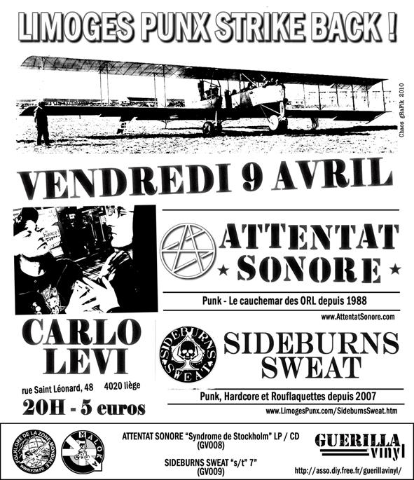 Attentat Sonore + Sideburns Sweat, Liege, Carlo Levi, 09/04/10