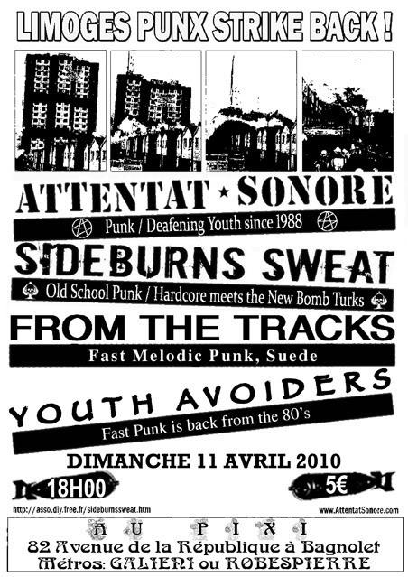 Attentat Sonore + Sideburns Sweat + Youth Avoiders, à Paris, au Pixi, 11/04/10
