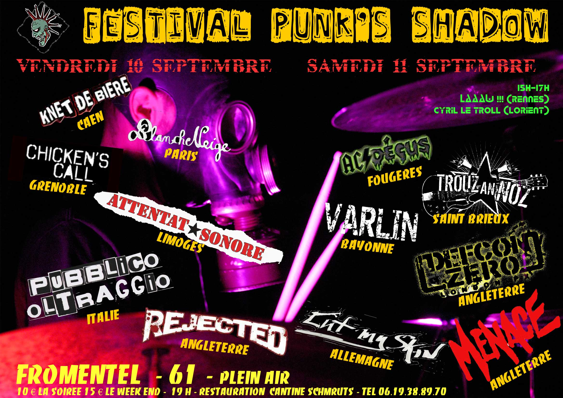 Attentat Sonore + Rejected + Cut My Skin au festival Punk's Shadow, le 10/09/10